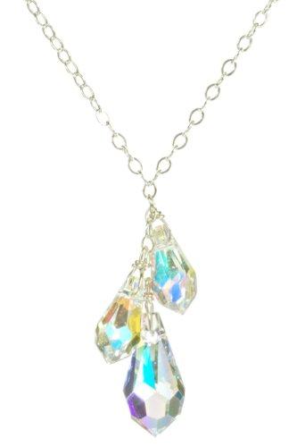 Sterling Silver Swarovski Elements Crystal Aurora Borealis Linear Teardrops Necklace, 18