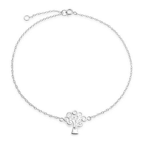 Bling Jewelry 925 Silver Tree of Life Cavigliera registrabile Cuore braccialetto di caviglia