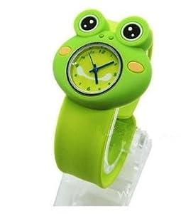 NEW! Cute Kids Boy Girl Children's Rubber Snap-on Slap Cuff Watch Gift (Green, Frog)