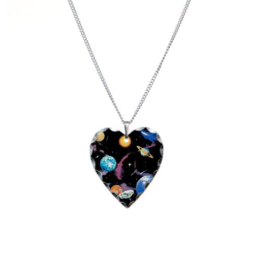 Necklace Heart Charm Solar System And Asteroids