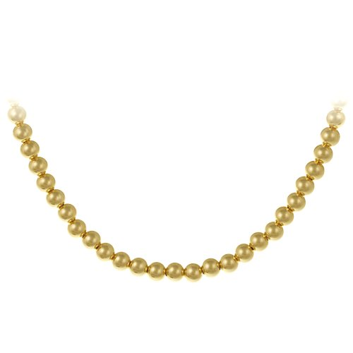 18k Yellow Gold Plated Sterling Silver 6mm Bead Necklace, 16+3