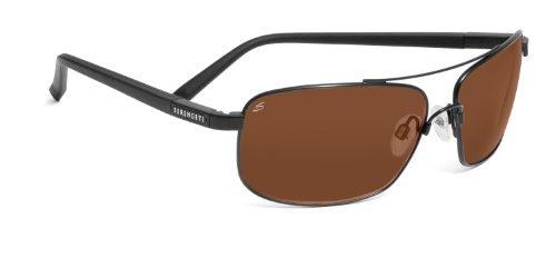 Serengeti 7566 Satin Black Palladio Aviator Sunglasses Polarised images