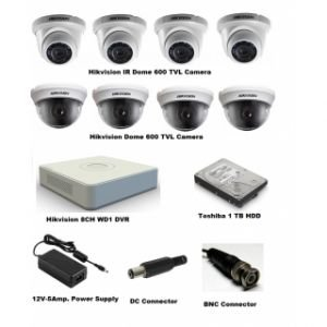 Hikvision DS-7108HWI-SL 8CH Dvr (With 700/600 TVL Dome IR Cameras & 1 TB HDD)