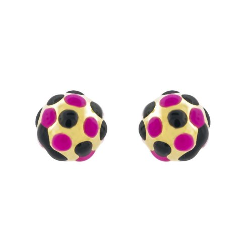 14k Gold Baby Earrings with Pink and black Enamel
