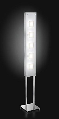 Lampada Piantana Cromo Spazzolato Con Vetro Satinato - Misure 5Xg9 40W Incluse H.150X24 Cm (Alogena Risp. En) - Lampada Piantana Modello Perenz 4796