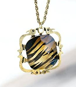 JA112 4 Tiger Striped Faux Stone Necklace, Tiger Cat Pendant Square Necklace