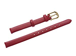 Uyoung 6mm Women's Red Genuine Leather Golden Clasp Thin Watch Band