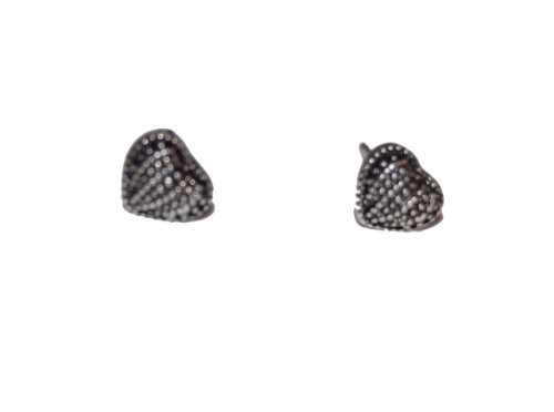 Pilgrim Heart Stud Earrings in Antique Silver (Supplied in a Gift Pouch) Fashion Jewellery