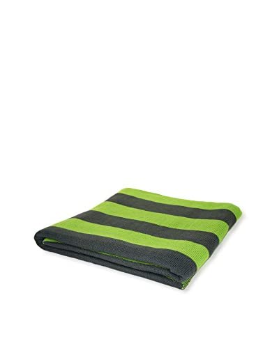 PÜR Cashmere Jacquard Stripe Pattern Throw, Grass Green