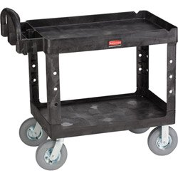 Black Heavy Duty 2 Shelf Utility Cart