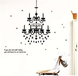 Black Chandelier Home Room Decor Decorative Removable Wall Art Peel And Stick Decal Sticker front-902971