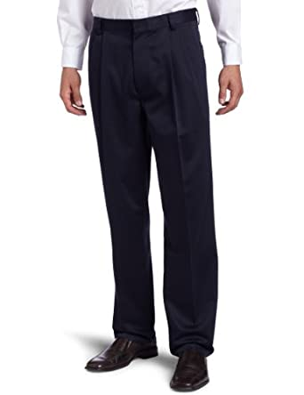 Dockers Men's Never-Iron Essential Khaki Classic Pleated Pant,Navy,29X30