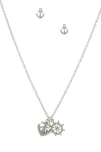 Trendy Fashion Jewelry Rhinestone Embellished Key And Anchor Pendant Necklace Set By Fashion Destination | (Silver)