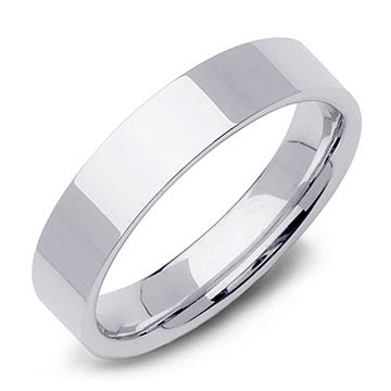 Top Flat Edge Wedding Band Ring in 14k White Gold (5mm)