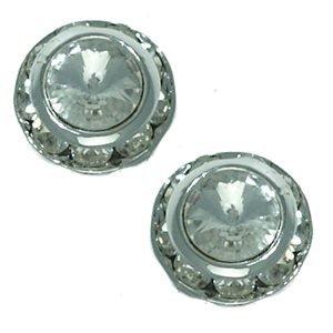 Presto 11mm Silver Crystal Clip On Earrings