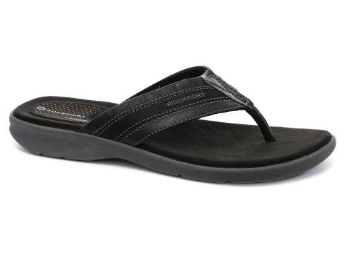 Rockport Sailboat Circle Black Mens Thong Sandals