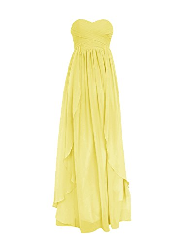 Diyouth Long Floor Length Sweetheart Chiffon Formal Bridesmaid Dress Ruffle Yellow Size 20W