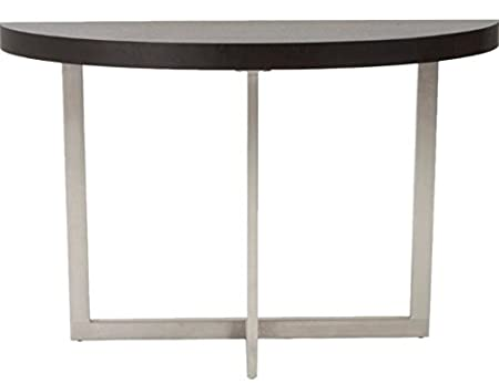 Euro Style Oliver Collection Oliver Console Table in Wenge/Brushed Stainless Steel