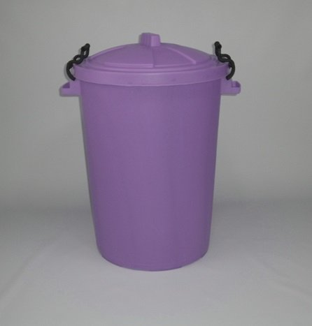 80/85 Litre lilac Dustbin/Bin/Refuse Bin With Lockable Handles. (made in the uk)