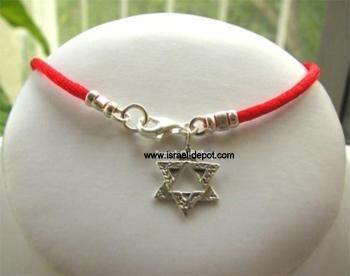 Silver Kabbalah Red String Bracelet Magen David Hammered