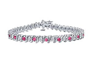 Pink Sapphire and Diamond S Tennis Bracelet : Platinum - 5.00 CT TGW
