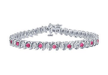 Pink Sapphire and Diamond S Tennis Bracelet Platinum 1.00 CT TGW