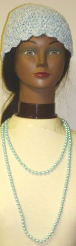 One Strand Light Blue Simulated Pearl Very Long Chain Shown As Two Strand Necklace Offered with Hand Crocheted Blue Chenille and Gimp Tweed Skull Cap