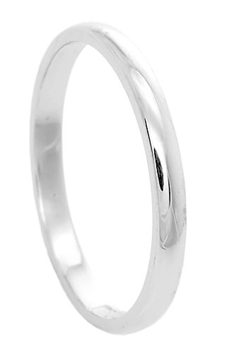 Men and Women's 14kt White Gold 2mm Traditional Wedding Band Ring (10)