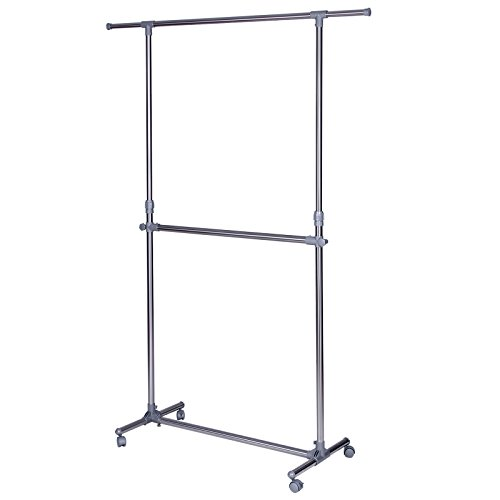 SONGMICS Adjustable Double Rods Garment Rack Rolling Hanging Clothes Rack ULLR401 (Adjustable Double Garment Rack compare prices)
