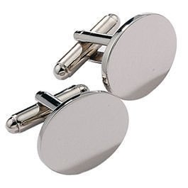 Personalised Silver Plated Oval Cufflinks Engraved