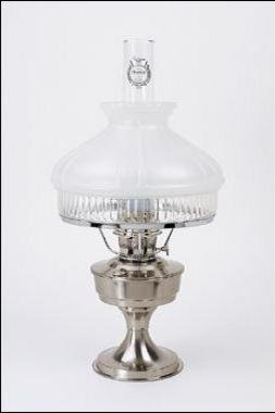 "Aladdin Brushed Stainless Heritage Table Lamp - 10"" #12 Glass Shade"