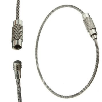 Outdoor Multi-Functional Stainless Steel Rope Keychain Ring - Silver 10Pc front-155216