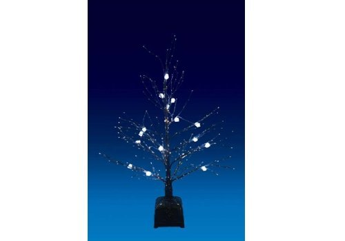 Christmas Concepts Ltd 32 Inch Black Fibre Optic Twig Tree With White Led Ice Cube Lights