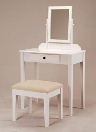 White Finish Wood 3 Pc Bedroom Vanity Set With Mirror And Stool front-368957