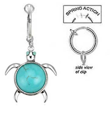 Fake Belly Navel Non Clip On Aqua Lt Blue Turqouise Sea Turtle Tortoise Dangle Ring