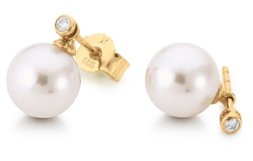 Adriana Eleganza E9 Rub Over Small Inclusions (SI2) White Brilliant Cut Diamond and Akoya cultured pearl 14ct Yellow Gold Earrings Certificate of Authenticity
