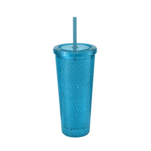 Design For Living Double Wall Bubble Gel Ice Beverage Cup,19-Ounce, Blue front-143000