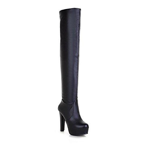 balamasa-girls-chunky-heels-platform-foldable-black-soft-material-boots-25-uk