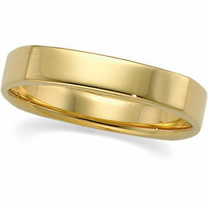 Genuine IceCarats Designer Jewelry Gift 14K Yellow Gold Wedding Band Ring Ring. 04.00 Mm Square Comfort Fit Band In 14K Yellowgold Size 10