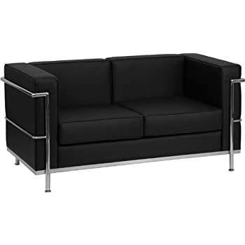 Flash Furniture HERCULES Regal Series Contemporary Black Leather Loveseat with Encasing Frame