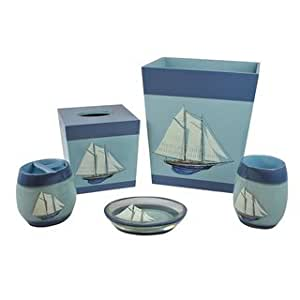 sherry fair harbor nautical bath accessory 5 set home kitchen