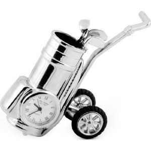 Miniature Silver Golf Club Bag Trolley Novelty