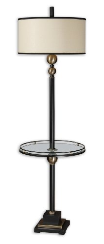 End Table Floor Lamp With Rustic Black Finish