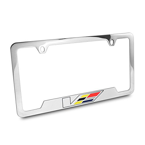 Cadillac V Logo Engraved Chrome Plated Brass License Plate - Import ...