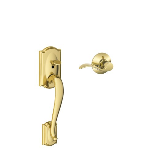 Schlage Fe285 Cam 505 Acc Rh Camelot Front Entry Handleset With Interior Accent Lever For Right Handed Door, Bright Brass