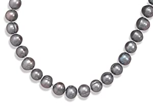 Sterling Silver 18 Inch+2 Inch Extention Peacock Cultured Freshwater Pearl Necklace - JewelryWeb