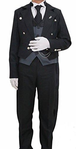 [Halloween Men's Sebastian Cosplay Costume Tailcoat Tuxedo Outfit XXL] (Womens Tailcoat Costume)