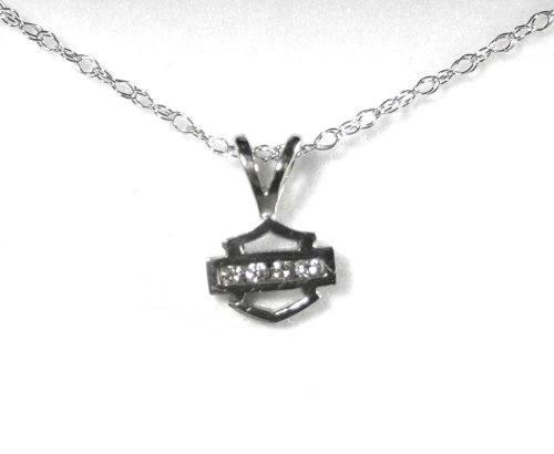 Harley-Davidson® Stamper® Women's 10K White Gold Bar & Shield Diamond Pendant 18