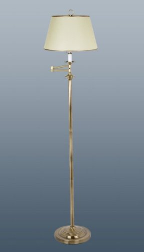 Belfry Swing Arm Floor Lamp, Antique Brass finish supplied complete with Parchment shade