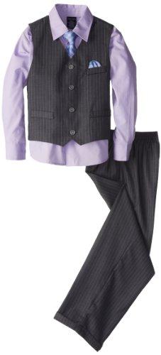 Nautica Little Boys' Herringbone Deco Stripe Vest Set, Grey, 3T/3 front-169784